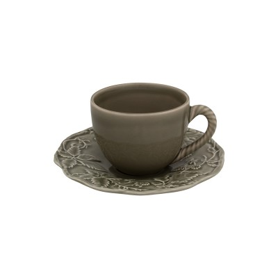 Ceasca ceai cu farfurie BP gri inchis