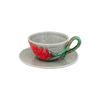 Ceasca ceai cu farfurie BP model ghimbir rosu
