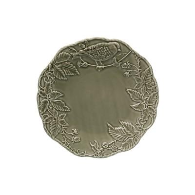 Platou BP 32cm motiv floral cu pasare gri inchis