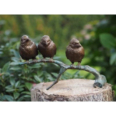 Decoratiune gradina bronz 3 vrabiute pe creanga