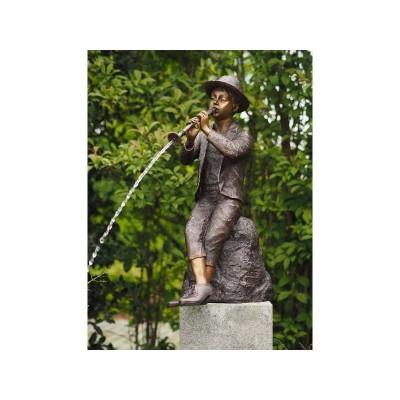 Decoratiune gradina bronz fantana baiat cu flaut
