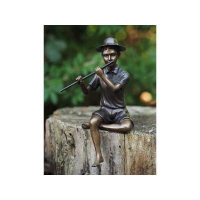Decoratiune gradina bronz baietel cu flaut
