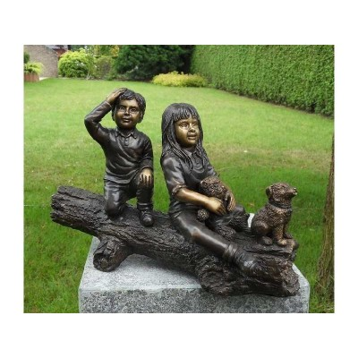Decoratiune gradina bronz baietel, fetita si catelus