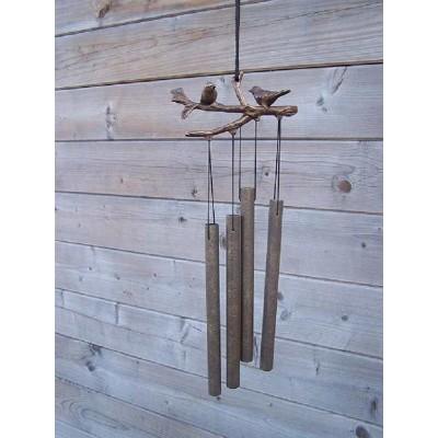 Decoratiune gradina bronz clopotei de vant pasarele pe crenguta