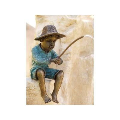 Decoratiune gradina bronz fantana baietel la pescuit