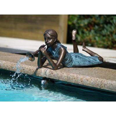 Decoratiune gradina bronz fantana fata cu flaut