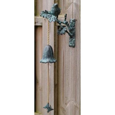 Decoratiune gradina clopotel bronz pasare cu floare