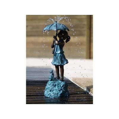 Decoratiune gradina fantana bronz fetita sub umbrela