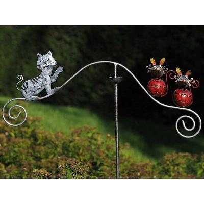 Decoratiune gradina metal balansoar vant pisicuta si soricei