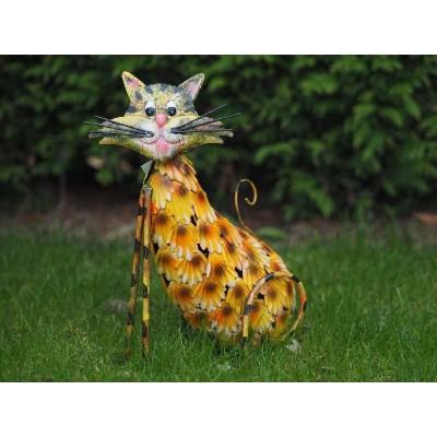 Decoratiune gradina metal pisicuta colorata