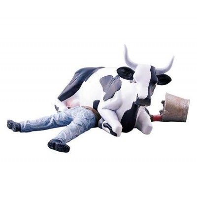 Figurina vacuta CowParade Ni Mu Cow Sitting on Man M