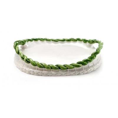 Tava ovala alba cu verde