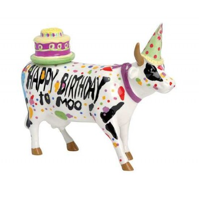 Figurina vacuta CowParade Happy Birthday To Moo! M - ceramica
